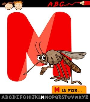 Lettre m avec illustration de dessin animé de moustique