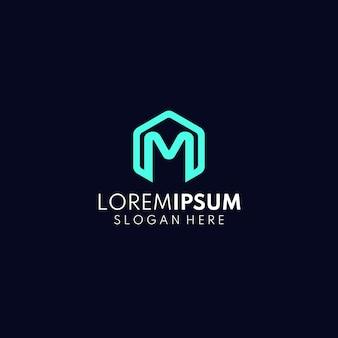 Lettre m logo concept hexagone m logo abstrait m logo