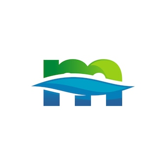Lettre m logo eau propre