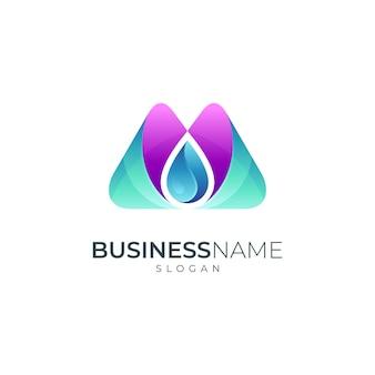 Lettre m logo avec goutte d'eau