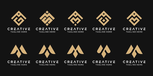 Lettre m logo icon set design icons for business of fashion sport pixel technology digital