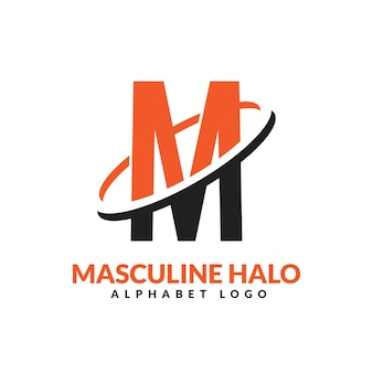 Lettre m orange et noir anneau géométrique masculin logo vector illustration icône