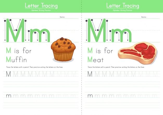 Lettre m traçant l'alphabet alimentaire