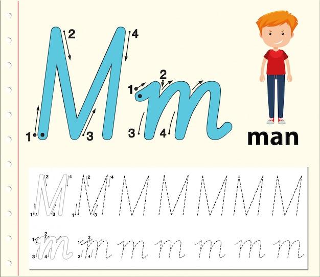 Lettre m traçant des feuilles d'alphabet