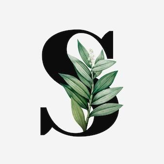 Lettre majuscule botanique s vecteur