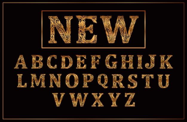 Lettre majuscule or luxe un vecteur alphabet