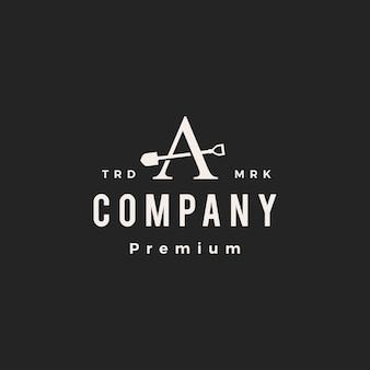Une lettre marque pelle bêche hipster logo vintage icône illustration vectorielle