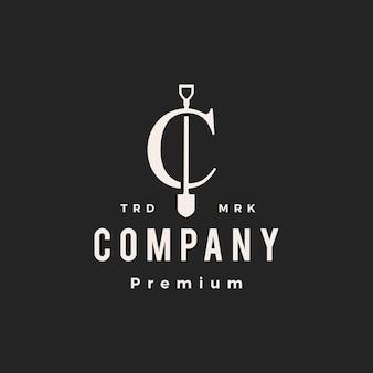 C lettre marque pelle bêche hipster logo vintage icône illustration vectorielle