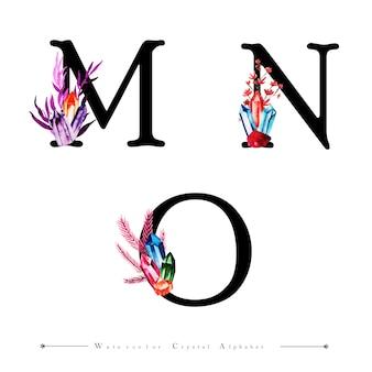 Lettre mn et o avec cristal aquarelle