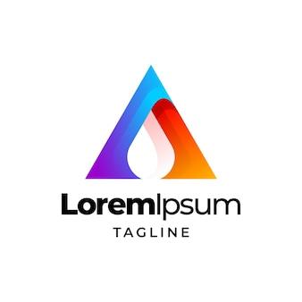 Lettre un modèle de conception de modèle de dégradé coloré logo eau