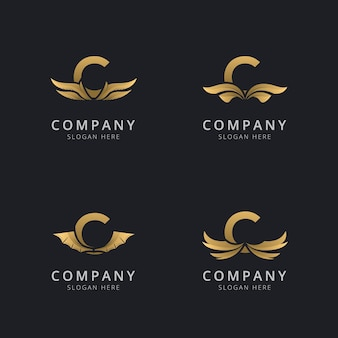 Lettre c avec modèle de logo aile abstraite de luxe
