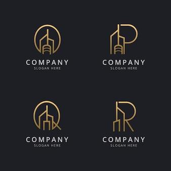 Lettre avec modèle de logo de bâtiment abstrait