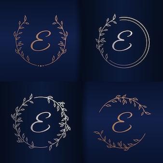 Lettre avec modèle de logo de cadre floral