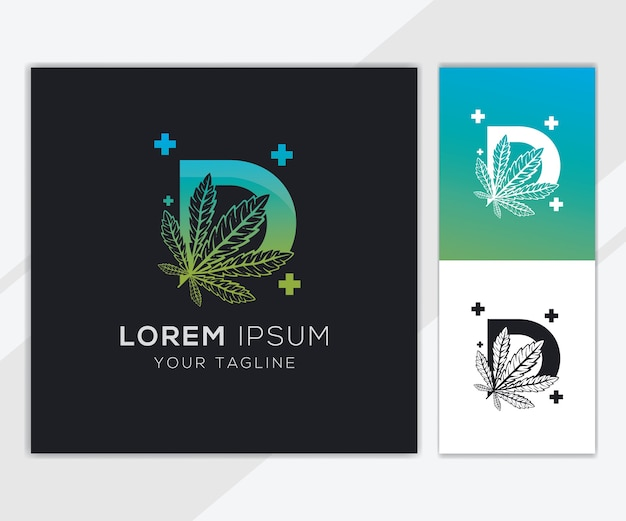 Lettre d avec modèle de logo de cannabis abstrait