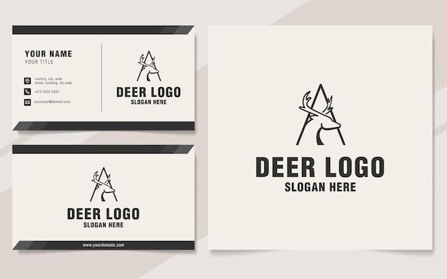 Lettre a avec modèle de logo de cerf sur le style monogramme