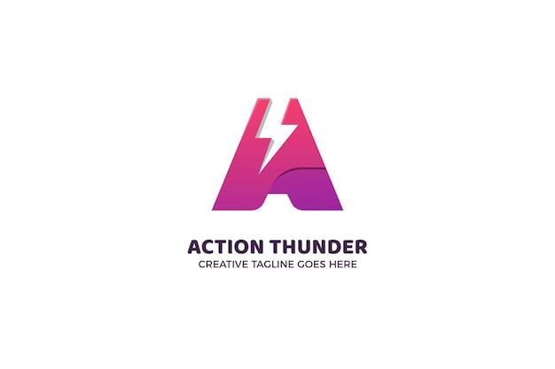 Lettre a modèle de logo dégradé d'éclairage thunder