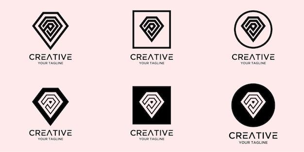 Lettre avec modèle de logo de diamant abstrait