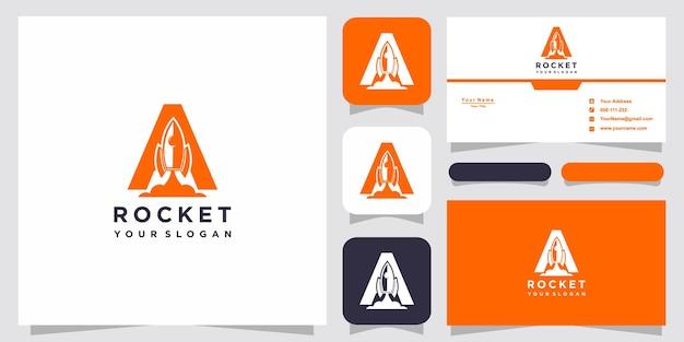 Lettre a avec modèle de logo de fusée abstraite de luxe
