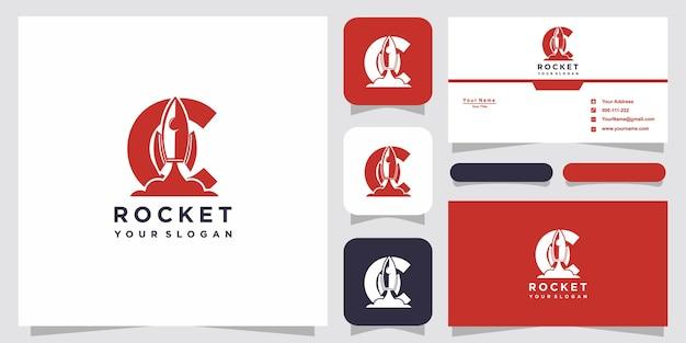 Lettre c avec modèle de logo de fusée abstraite de luxe