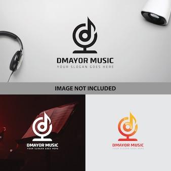 Lettre d modèle de logo de note de musique