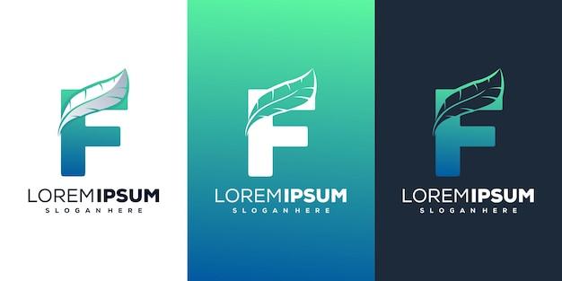 Lettre moderne f avec modèle de logo plume