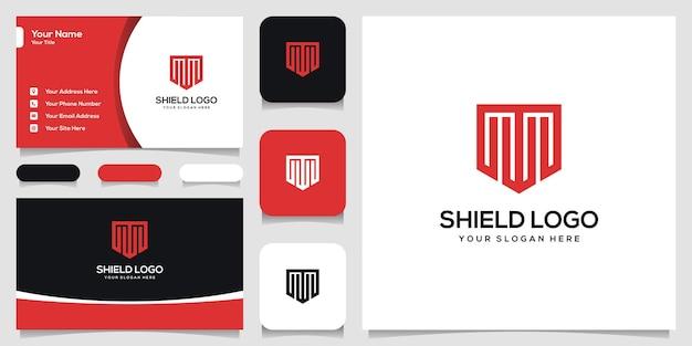 Lettre moderne t avec carte de visite de conception de logo de bouclier