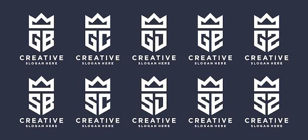 Lettre monogramme avec création de logo couronne. le logo peut être utilisé pour le logo des inials personnels, le logo des initiales de couple, le logo initial de l'entreprise.