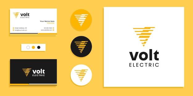 Lettre monogramme v avec coup de foudre, logo électrique volt et modèle de conception de carte de visite