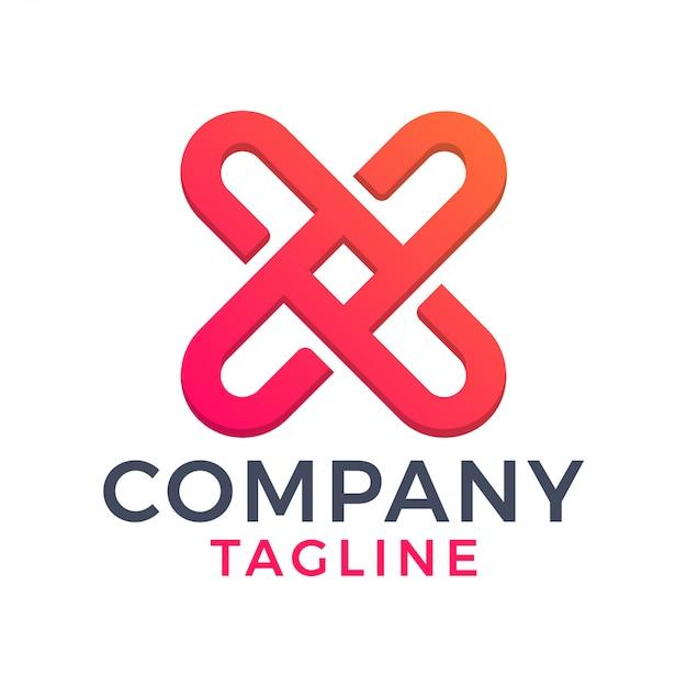 Lettre de monoline simple et moderne x croix création de logo dégradé rouge