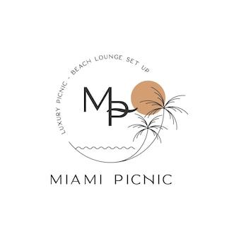 Lettre mp beach miami pique-nique design logo inspiration