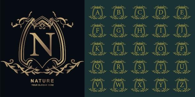 Lettre n ou alphabet initial de collection avec modèle de logo floral d'ornement de luxe