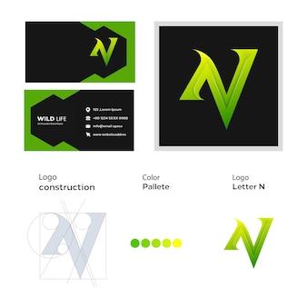 Lettre n logo coloré