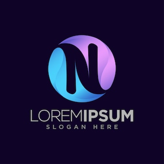 Lettre n logo moderne à l'intérieur d'un cercle