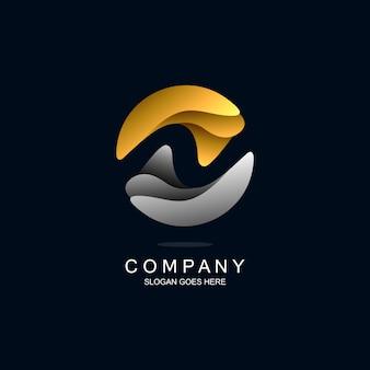 Lettre n avec logo de style ondulé en vecteur