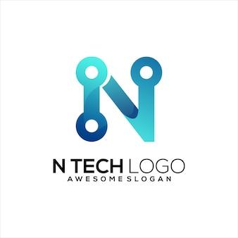 Lettre n logo technologie abstrait dégradé coloré