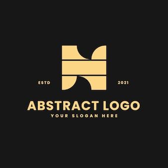 Lettre n luxueux bloc géométrique d'or concept logo vector icon illustration