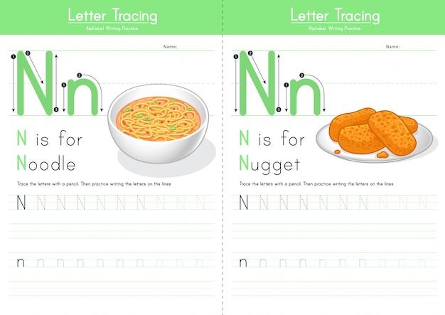 Lettre n traçant l'alphabet alimentaire