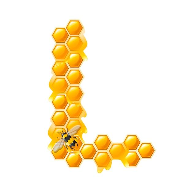 Lettre en nid d'abeille l avec des gouttes de miel et illustration de vecteur plat abeille isolé sur fond blanc.