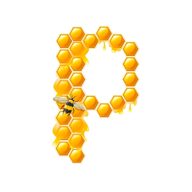 Lettre en nid d'abeille p avec des gouttes de miel et illustration vectorielle plane d'abeille isolée sur fond blanc.