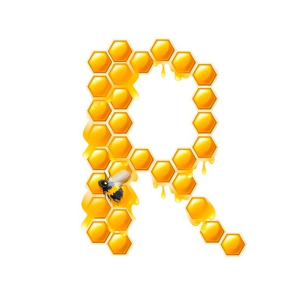 Lettre en nid d'abeille r avec des gouttes de miel et illustration vectorielle plane d'abeille isolée sur fond blanc.