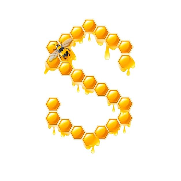 Lettre en nid d'abeille s avec des gouttes de miel et illustration vectorielle plane d'abeille isolée sur fond blanc.