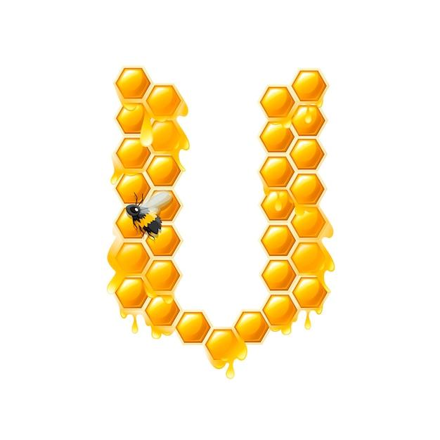 Lettre en nid d'abeille v avec des gouttes de miel et illustration vectorielle plane d'abeille isolée sur fond blanc.