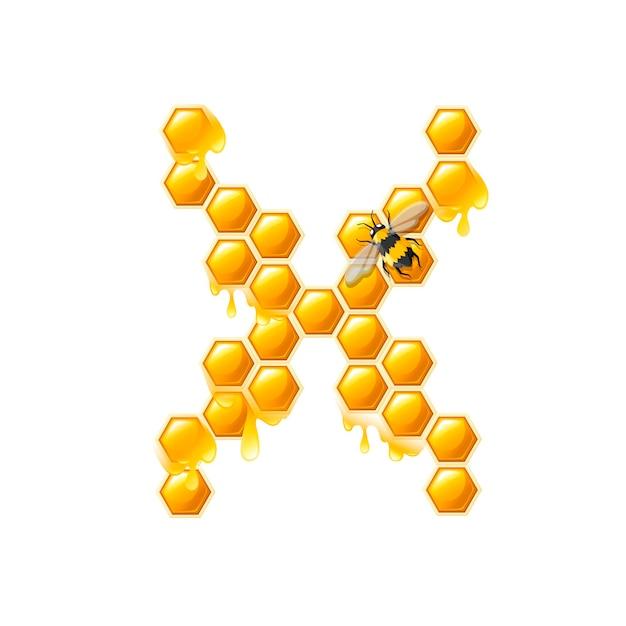 Lettre en nid d'abeille x avec des gouttes de miel et illustration vectorielle plane d'abeille isolée sur fond blanc.