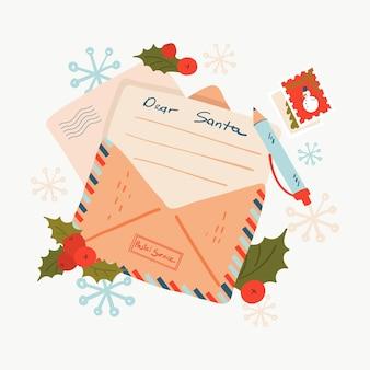 Lettre de noël au père noël dans une enveloppe cher courrier traditionnel du père noël à la carte de voeux du pôle nord