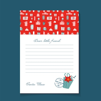 Lettre de noël du modèle du père noël. design plat dessiné à la main.