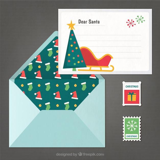 Lettre de noël et de l'enveloppe avec des timbres