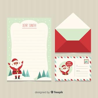 Lettre de noël et enveloppe