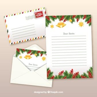 Lettre de noël réaliste avec des enveloppes