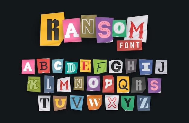 Lettre de note de rançon de style papier. lettres coupées. alphabet d'écrêtage. police vectorielle