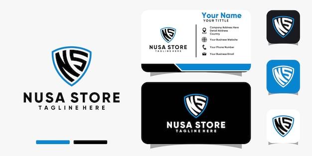 Lettre ns bouclier logo et modèle de vecteur de conception de carte de visite